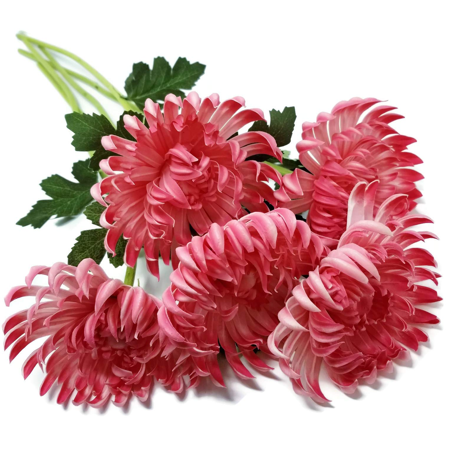 "Floral Kingdom Artificial Real Touch 24"" Chrysanthemum Flowers Fuji Spider Mum for Home, Office, Weddings, Bouquets (Pack of 5) (Rosy Pink)"