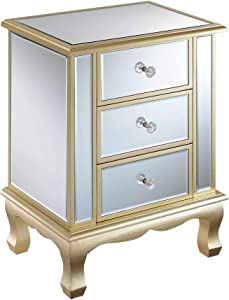 Convenience Concepts Gold Coast Vineyard 3 Drawer Mirrored End Table, Champagne / Mirror