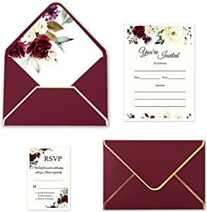 Doris Home 25pcs Burgundy Invitations Cards with Burgundy Rose Printed Inner Sheets and Envelope with with Gold Border for Wedding,Engagement Invite (Burgundy, Fill-In)