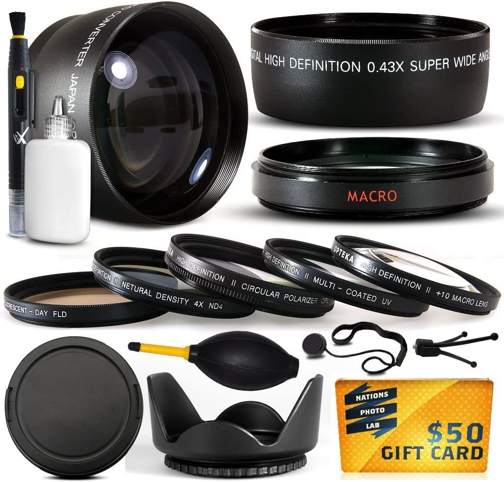 10 Piece Ultimate Lens Package For the Canon PowerShot G10 G11 G15 G16 Digital Camera Includes .43x High Definition II Wide Angle Panoramic Macro Fisheye Lens + 2.2x Extreme High Definition AF Telephoto Lens + Professional 5 Piece Filter Kit (UV, CPL, FL,