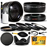 10 Piece Ultimate 58mm Lens Package For the Canon Vixia HF G10, HF G20, HF G30, HF S20, HF S21, HF S30, HF S200, XF100, XF105 Includes .43x High Definition II Wide Angle Panoramic Macro Fisheye Lens + 2.2x Extreme High Definition AF Telephoto Lens + Professional 5 Piece Filter Kit (UV, CPL, FL, ND4 and 10x Macro Lens) + Flower Lens Hood + Deluxe Lens Cleaning Kit + LCD Screen Protectors + Mini Tripod + 47stphoto Microfiber Cloth Photo Print !