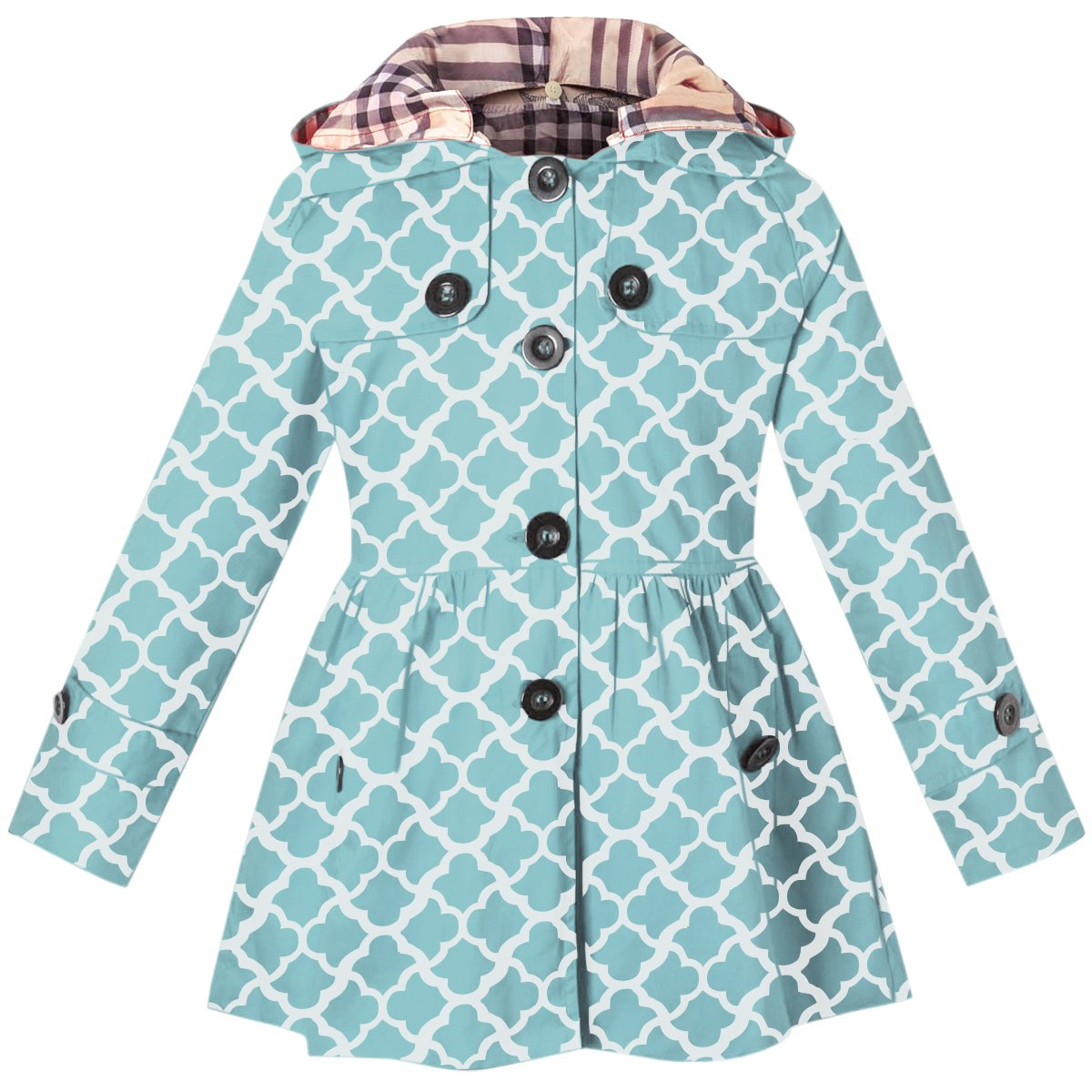 Kids Girls Hooded Trench Dress Coat, Hoodie Jacket for Big Girls, Geometry Print Blue, 10-11 Years=Tag 160