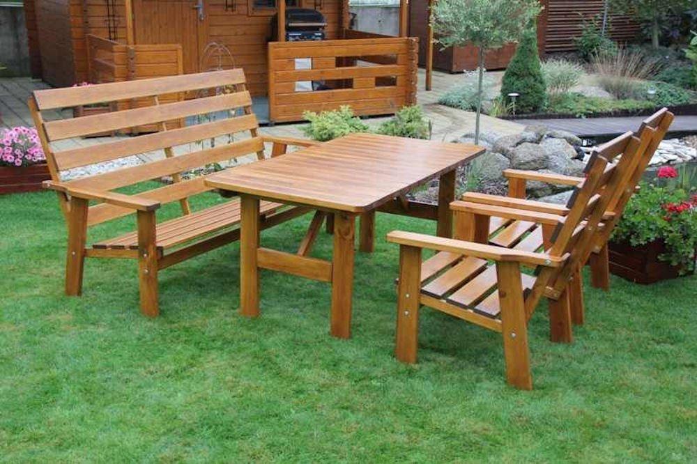 Massivholz Garten Sitzgruppe Sevila-1 , Kiefer , unlackiert , Holzdicke 28 / 20 mm , Gartenbank , 2 Sessel , Massivholztisch .