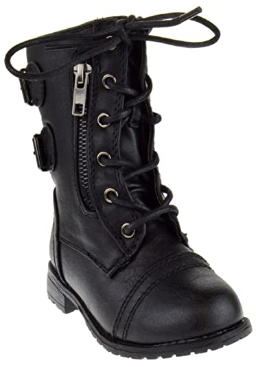 Link Mango,61Ka Baby Girls Combat Lace Up Boots Black Toddler