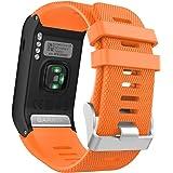 Garmin Vivoactive HR bracelet, MoKo Replacement WatchBand Wristband en Silicone souple Band pour Garmin Vívoactive HR Montre multisports cardio poignet, Orange