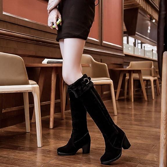 Zanpa Women Stylish Bow Knee High Boots Low Heels Lace up