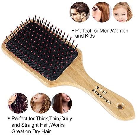 Cepillo de pelo, Natural de madera Paddle desenredante cepillo Peine – Cepillo acolchado ovalado para