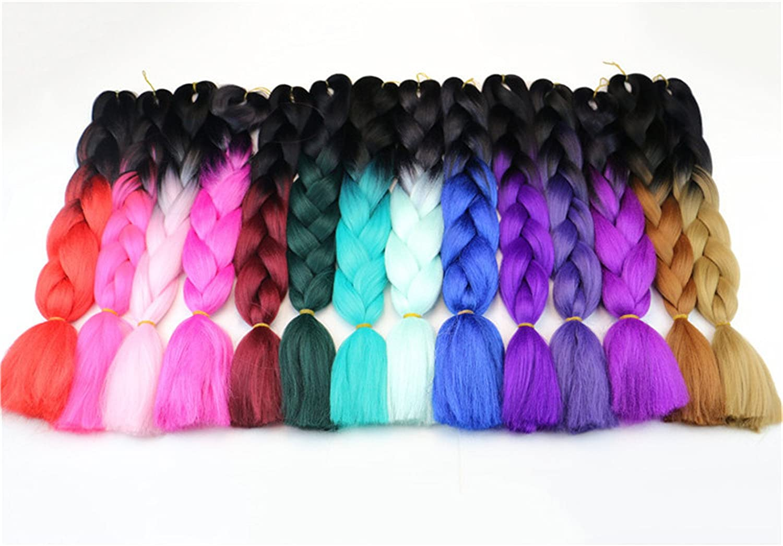 Chiguo Jumbo Treccia Hair Extensions di Capelli Sintetici African 24//60cm Colore Sfumato Intrecciare i Capelli Parrucca Braid 1 Pezzi
