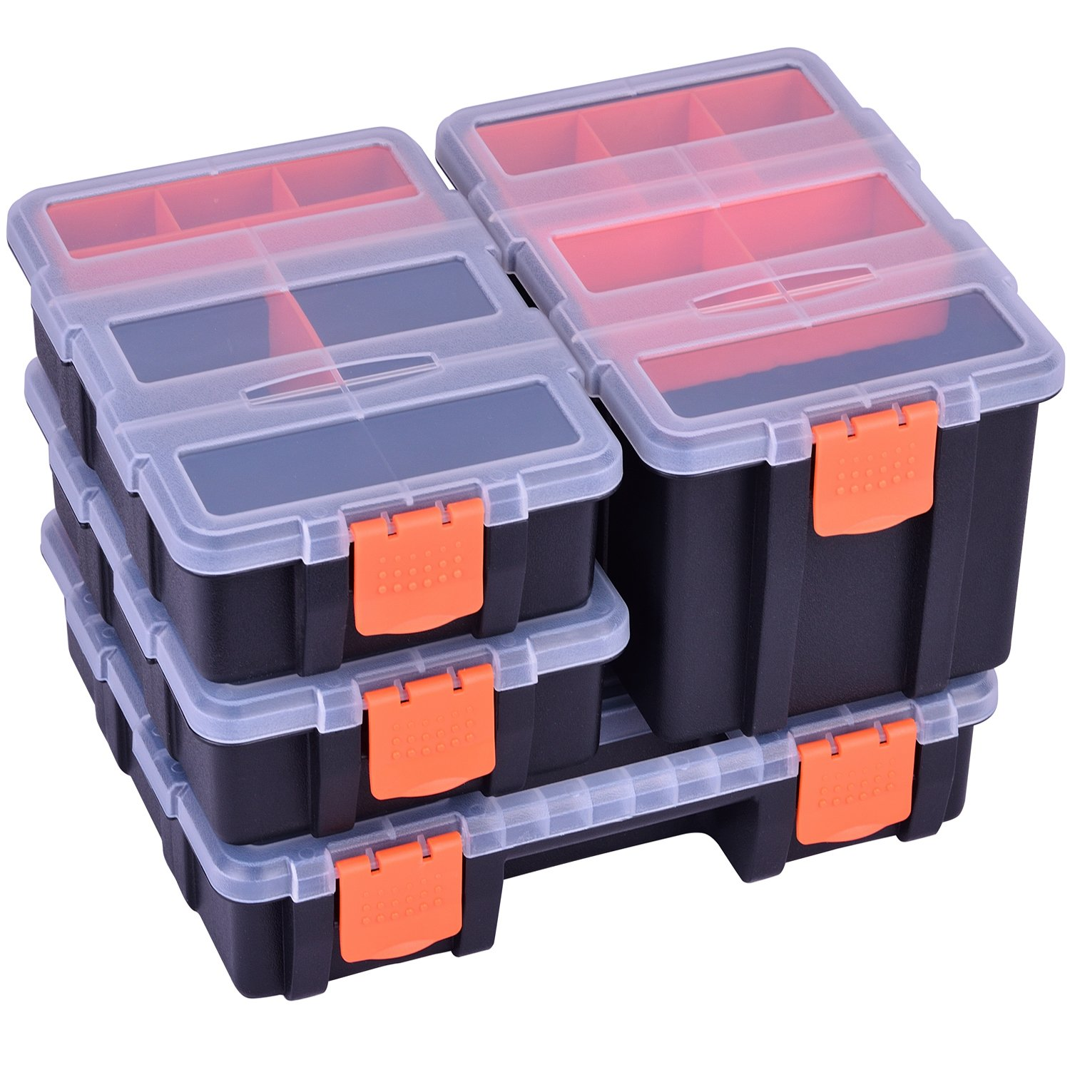 UMI 4 in 1 Tool Organizer Set Multi-purpose Toolbox with Removable Compartments Bins Portable Tool Storage Box for Small Parts with Transparent Lid Black + Orange