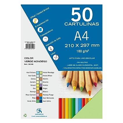 Dohe 30100 - Pack de 50 cartulinas, A4, color verde mondego