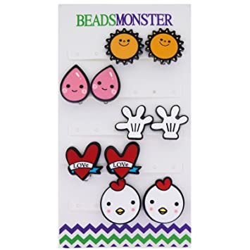Amazon Com Cute Clipart Cartoon Comic Style Clip On Earrings For