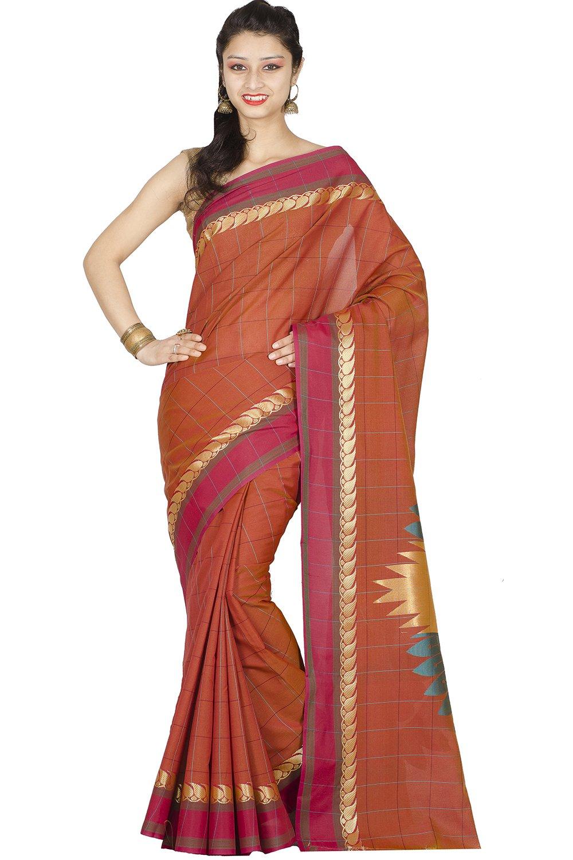 Chandrakala Women's Banarasi Cotton Silk Saree Free Size Orange