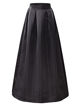 KIRA Women's Elastic High Waist A-line Flared Maxi Skirt at Amazon ...