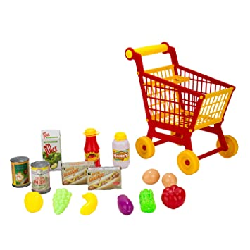 4ff31b666eab Blue Block Factory Pretend Shopping Cart & Food Playset for Kids Ages 3+  (16Piece) Playhouse, Red: Amazon.co.uk: Toys & Games