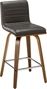 """Armen Living LCVIBAGRWA26 Vienna 26"""" Counter Height Barstool in Grey Faux Leather and Walnut Wood Finish"""
