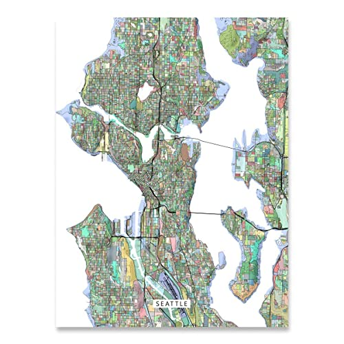 Amazon Com Seattle Map Print Washington Usa Wa City Street Art