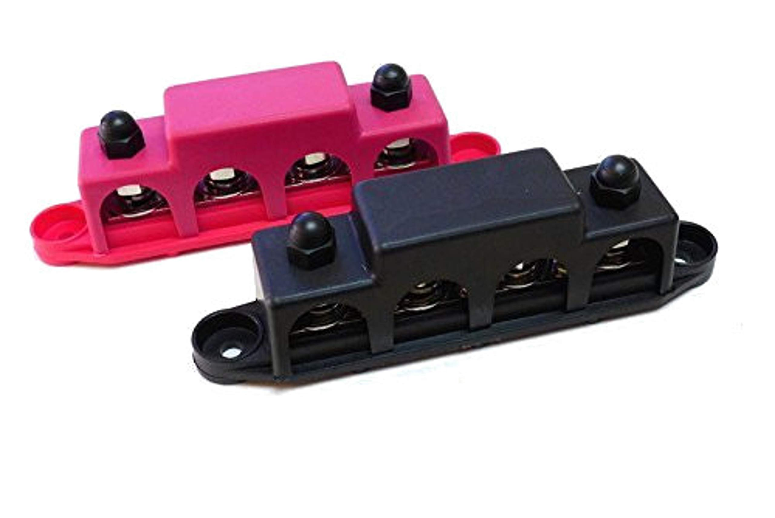 "Bay Marine Supply BusBar – 4-Post Power Distribution Block – Pair of 5/16"" Black & Red"