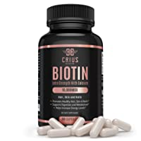 Crius Nutrition Biotin Supplement with Calcium for Thinning Hair, Skin and Nails...