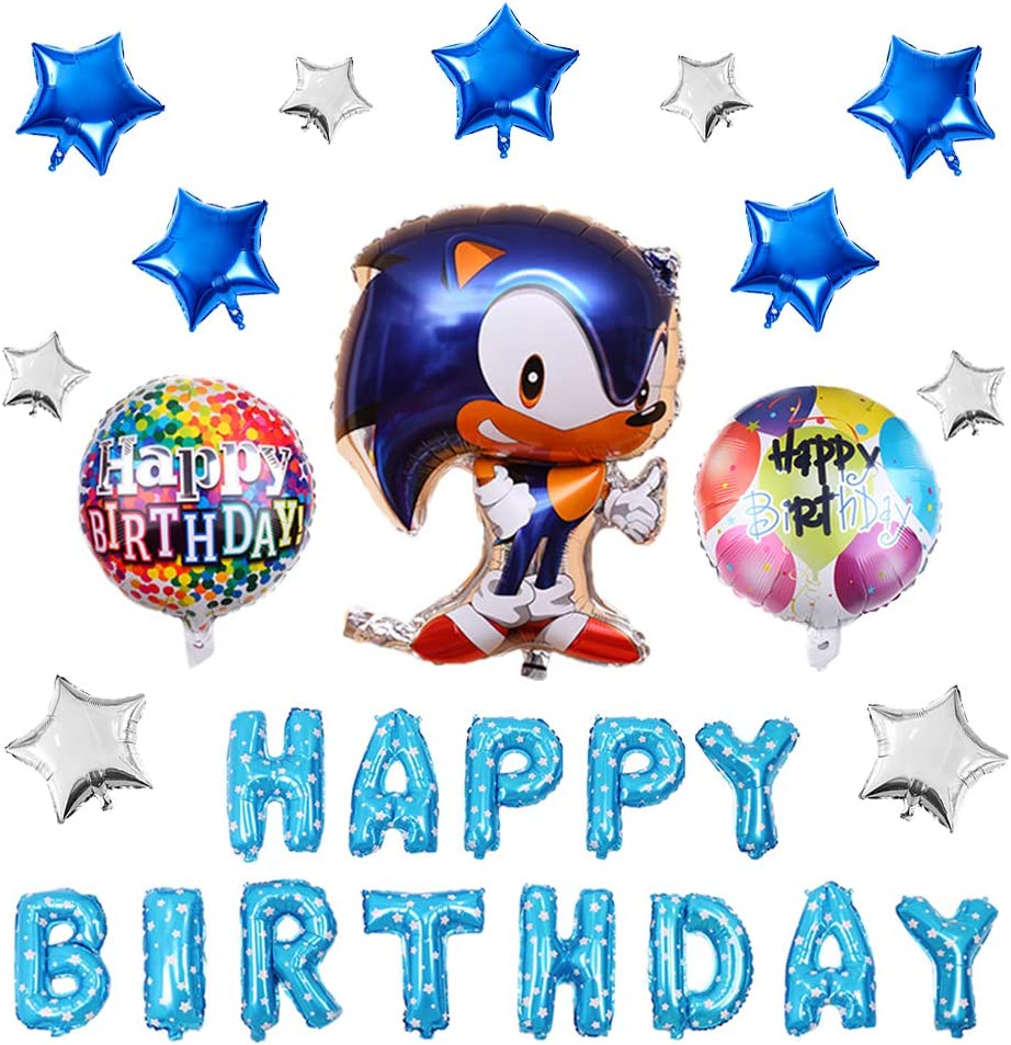 Amazon Com 17pcs Sonic The Hedgehog Balloons Birthday Party Supplies Set Happy Birthday Banner Foil Balloon For Kids Baby Shower Birthday Party Decorations Toys Games