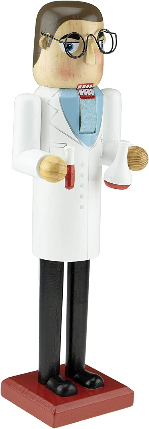 "Clever Creations Traditional Wooden Collectible Scientist Nutcracker | Festive Christmas Decor | 14"" Tall Perfect for Shelves and Tables"