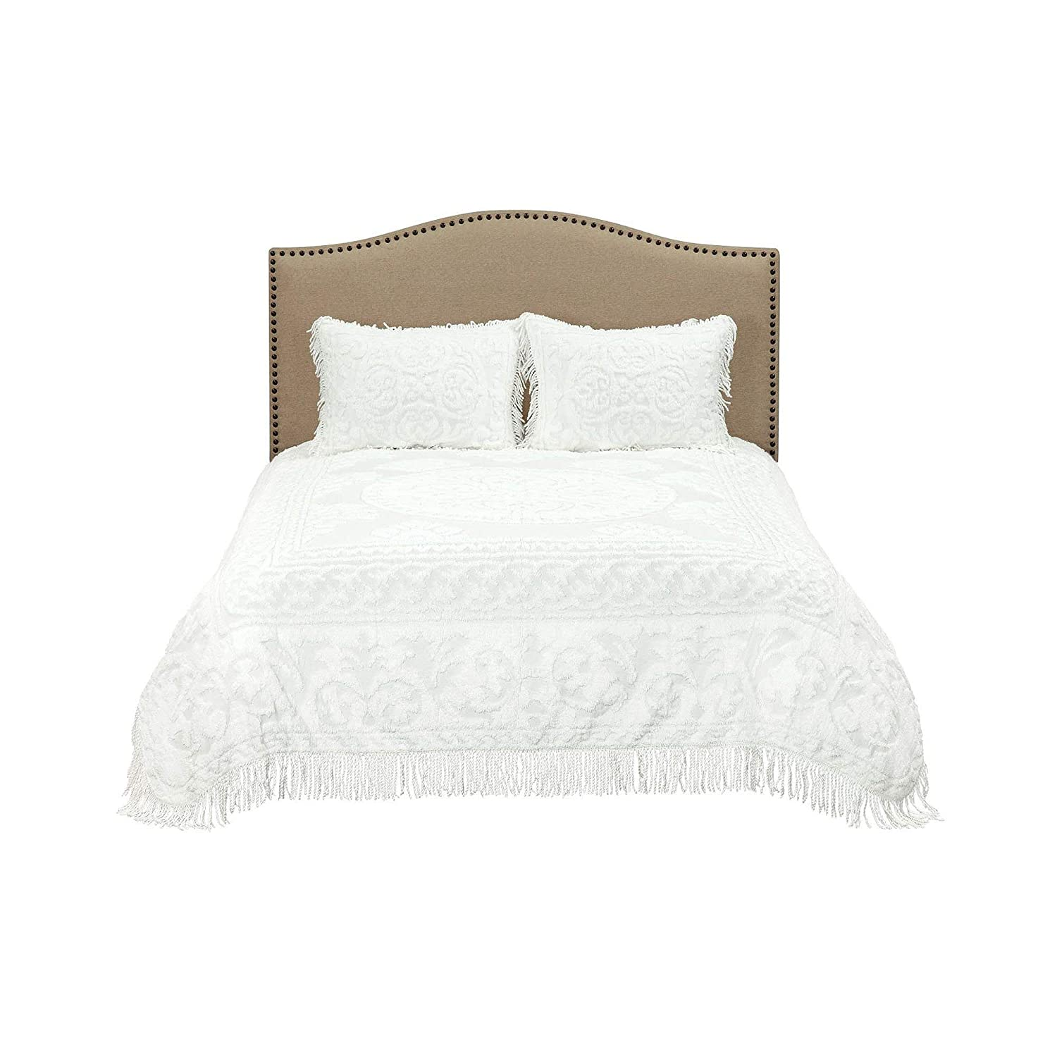 Beatrice Home Fashions Medallion Chenille Bedspread Ivory Full