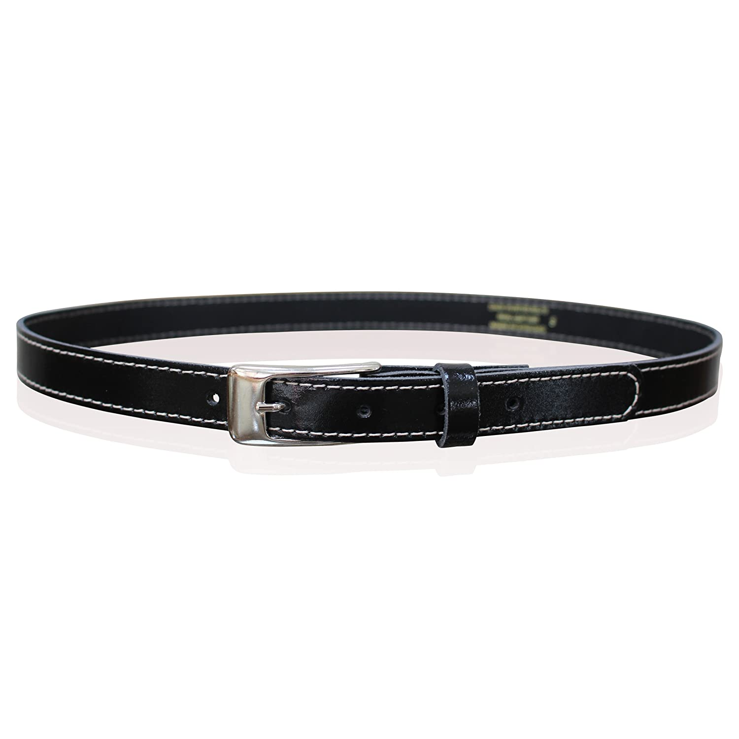 NEW LADIES LEATHER SKINNY BELTS WOMENS BELTS STYLISH STITCHING MADE IN ENGLAND