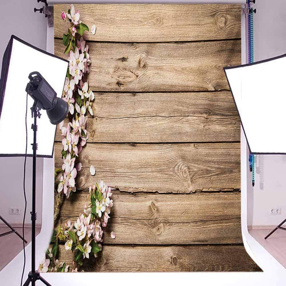 Rustic 10x15 FT Photo Backdrops,Sweet Spring Flowering Tree Branch on Weathered Wooden Blooming Orchard Image Background for Baby Shower Birthday Wedding Bridal Shower Party Decoration Photo Studio