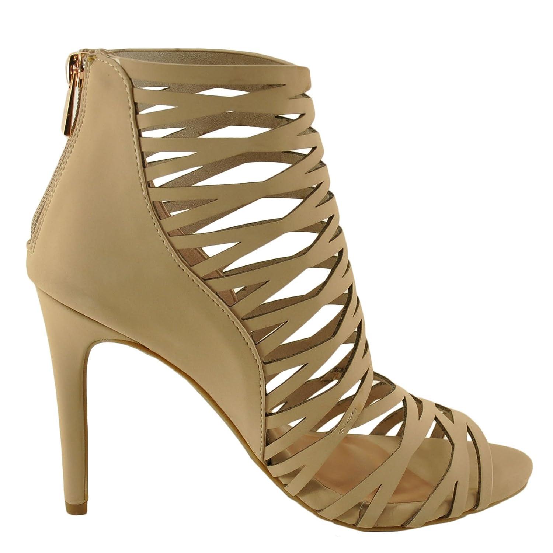 Women/'s Shoes Anne Michelle Sugarlove 68M Strappy Peep Toe Stiletto Nude *New*
