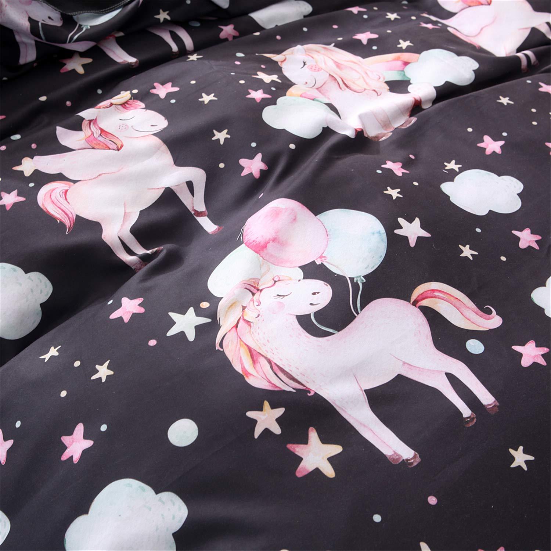 WINLIFE Unicorn Duvet Cover for Kids Boys /& Girls Microfiber Bedding Zipper Comforter Cover Queen Pink
