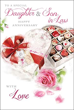 daughter son in law wedding anniversary card amazon co uk