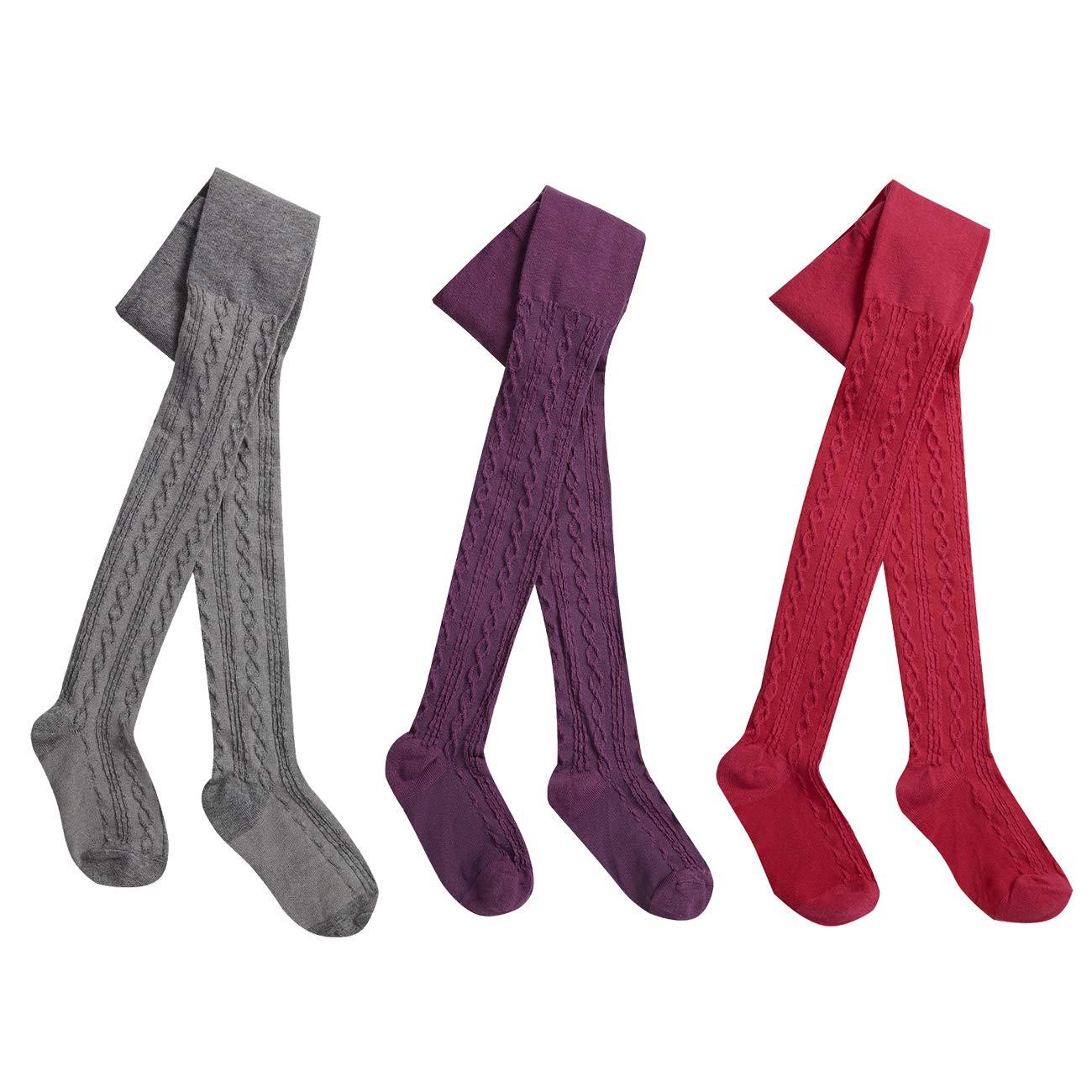 color rosa y gris con puntos juego de tres pantimedias para ni/ñas medias para ni/ñas Tallas 62-146 WELLYOU leotardos para beb/és//ni/ños