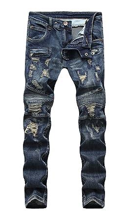 a7f8c2f7 Men's Straight Slim Fit Ripped Zipper Retro Biker Blue Jeans in Medium Wash  29