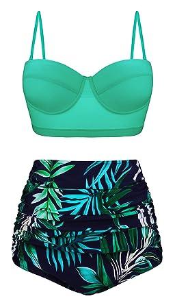 541f1086a431 Angerella Signore Retro Stile Punto di Polca con Cintola Alta Costume da  Bagno Bikini Set