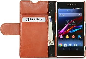 StilGut Talis Book Type, custodia in vera pelle con scomparti ad utilizzo portafoglio per Sony Xperia Z1 Compact, cognac