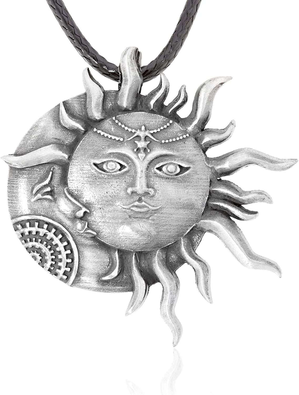 Namaste Jewelers Meditative Zen Sun Moon Face Pendant Necklace Pewter Jewelry