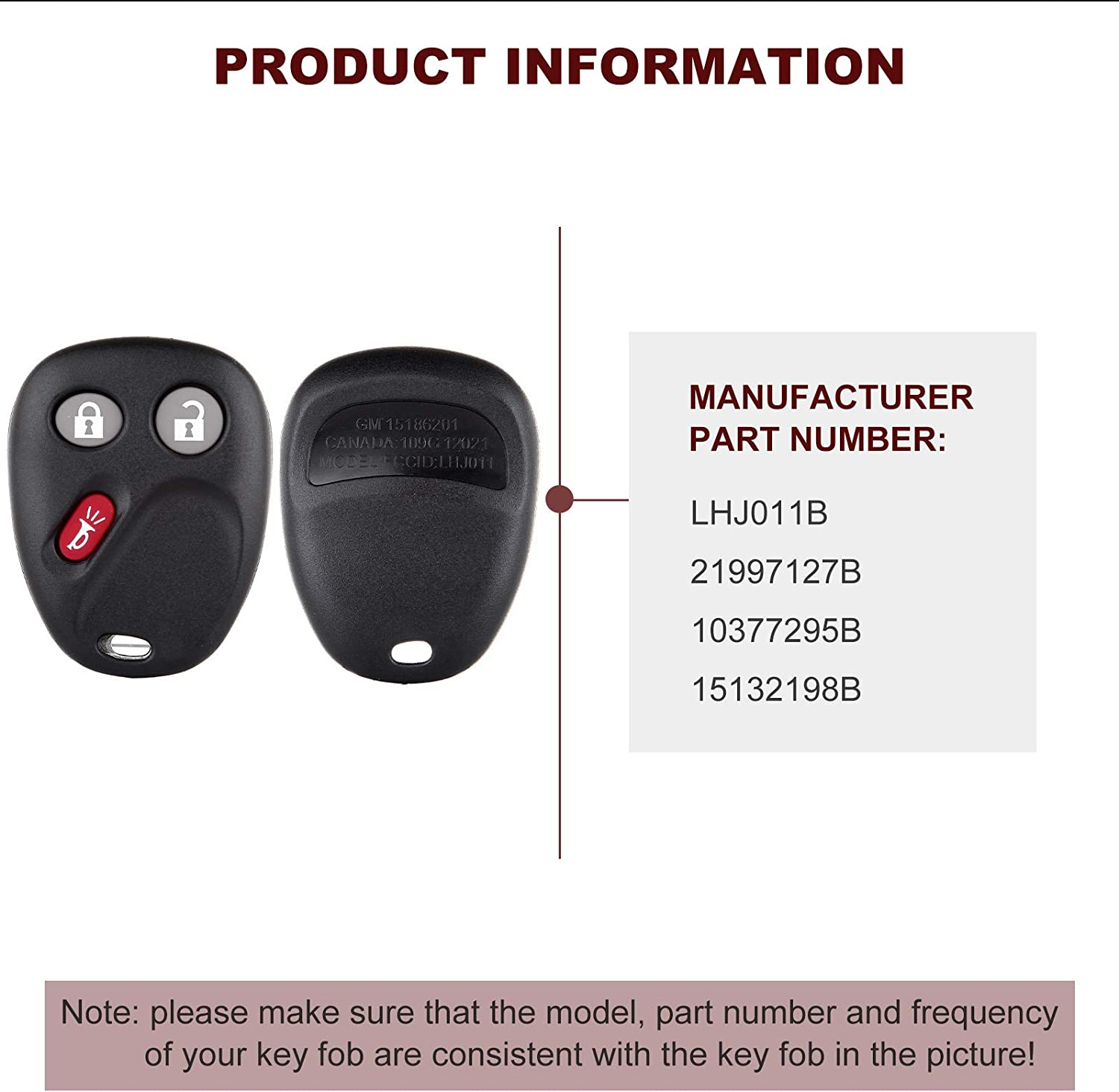 ANGLEWIDE Car Key Fob Keyless Entry Remote Replacement for 03-07 for Cadillac for Chevrolet for GMC for Hummer for Pontiac for Saturn FCC 21997127 3 Buttons Black 2pad