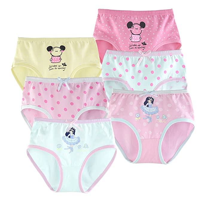 b2e509660743 slaixiu Cotton Girls Underwear Briefs Cute Polkadot Cartoon Kids Panties  6-Pack(UW234-