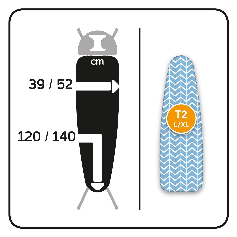 F/ür alle gro/ßen und extra gro/ßen B/ügelbretter und alle T2 Dampf- LaundrySpecialist/® Comfort Gr/ö/ße L//XL B/ügelbrettbezug aus 100/% Baumwolle mit extra Dicker Molton-Schicht B/ügeleisen geeignet