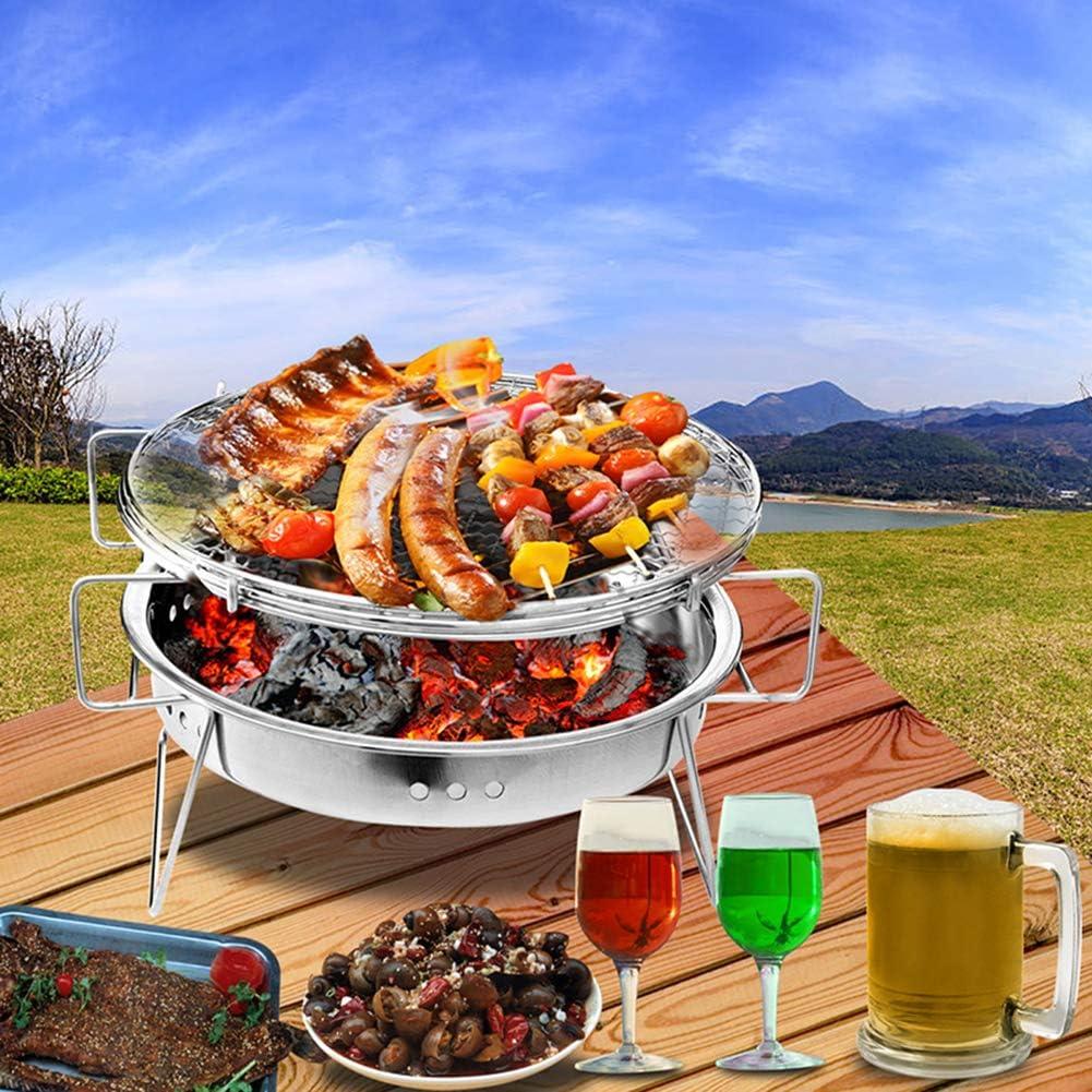 ZGGLORY Mini Barbecue,Barbecue en Acier Inoxydable,Accessoires de Barbecue pliants Outils de Cuisine de Cuisine Portable pour Camping en Plein air-A A