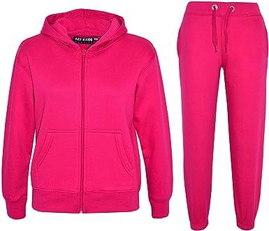 Chándal A2Z 4 Kids® liso con capucha y pantalones, deportivo, para niños y niñas de 7 a 13 años Rosa rosa 7-8 Años: Amazon.es: Ropa y accesorios