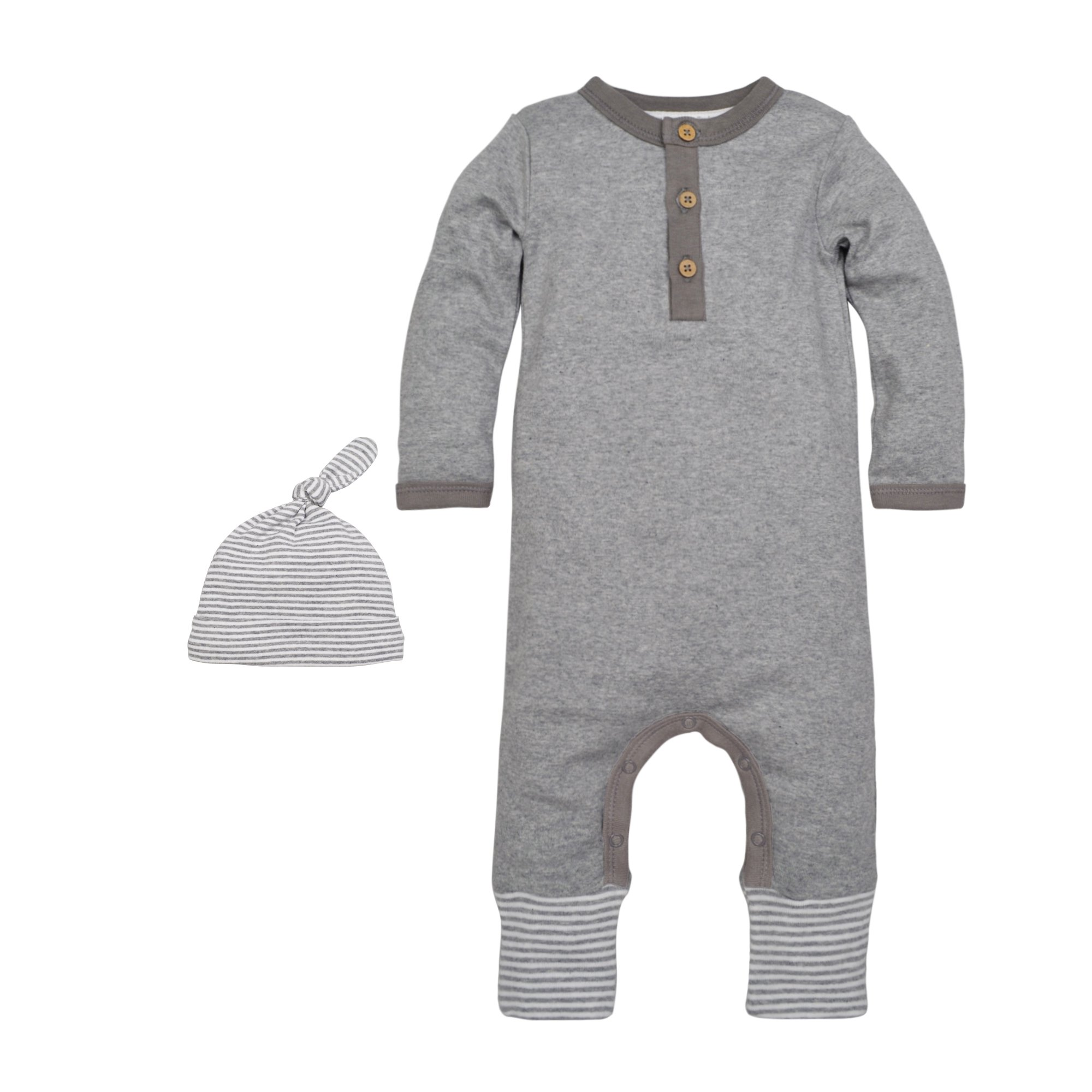 Burt's Bees Baby Baby Boys' Organic One-Piece Romper Coverall, Heather Grey Henley Coverall & Hat Set, 0-3 Months