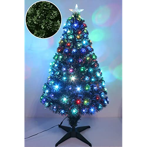 funkybuys luxury green frosted fibre optic christmas xmas tree pine w multicolor leds metal