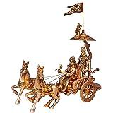 Crafthut Mahabharat/Geeta Arjun Chariot (Rath) with Krishna & Hanuman: Sculpted in Solid Brass Metal | Unique Indian Showpiece Gift
