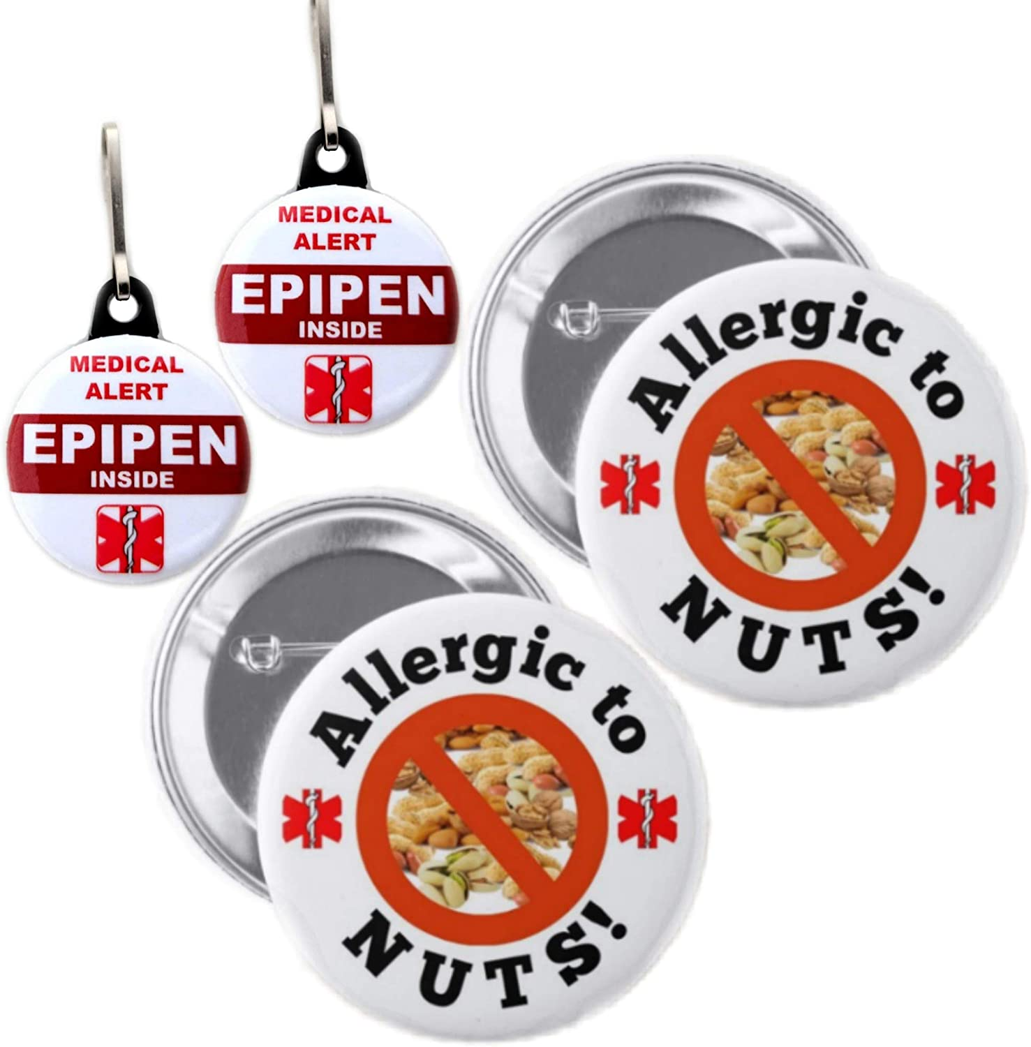 Allergic to Nuts Button Pin 2.25 inches 2pcs and Medical Alert Epipen Inside Bag Tag Set 1.25 inches 2pcs