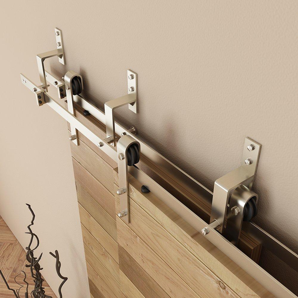 4 Pack Wall-Mount Matte Black Steel Bypass Bracket for Sliding Barn Door Hardware TY