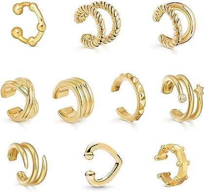 Amazon Com 10pcs Ear Cuff Set No Piercing Earrings Helix Cuff Earrings Clip On Cartilage For Men Women Clothing
