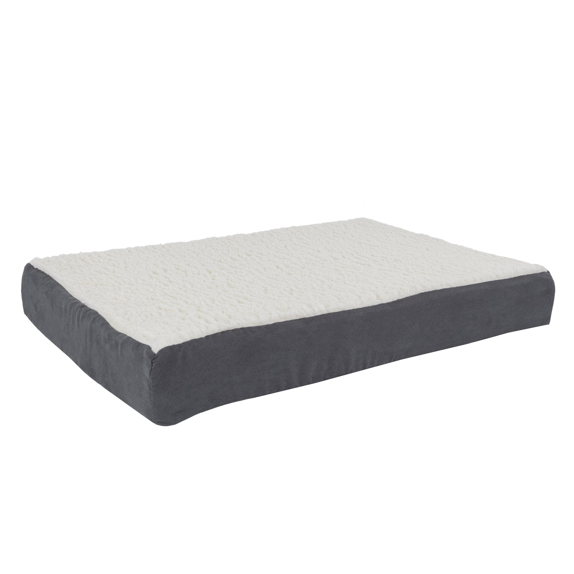 PETMAKER Orthopedic Sherpa Top Pet Bed with Memory Foam and Removable Cover 30x20.5x4 Gray by PETMAKER
