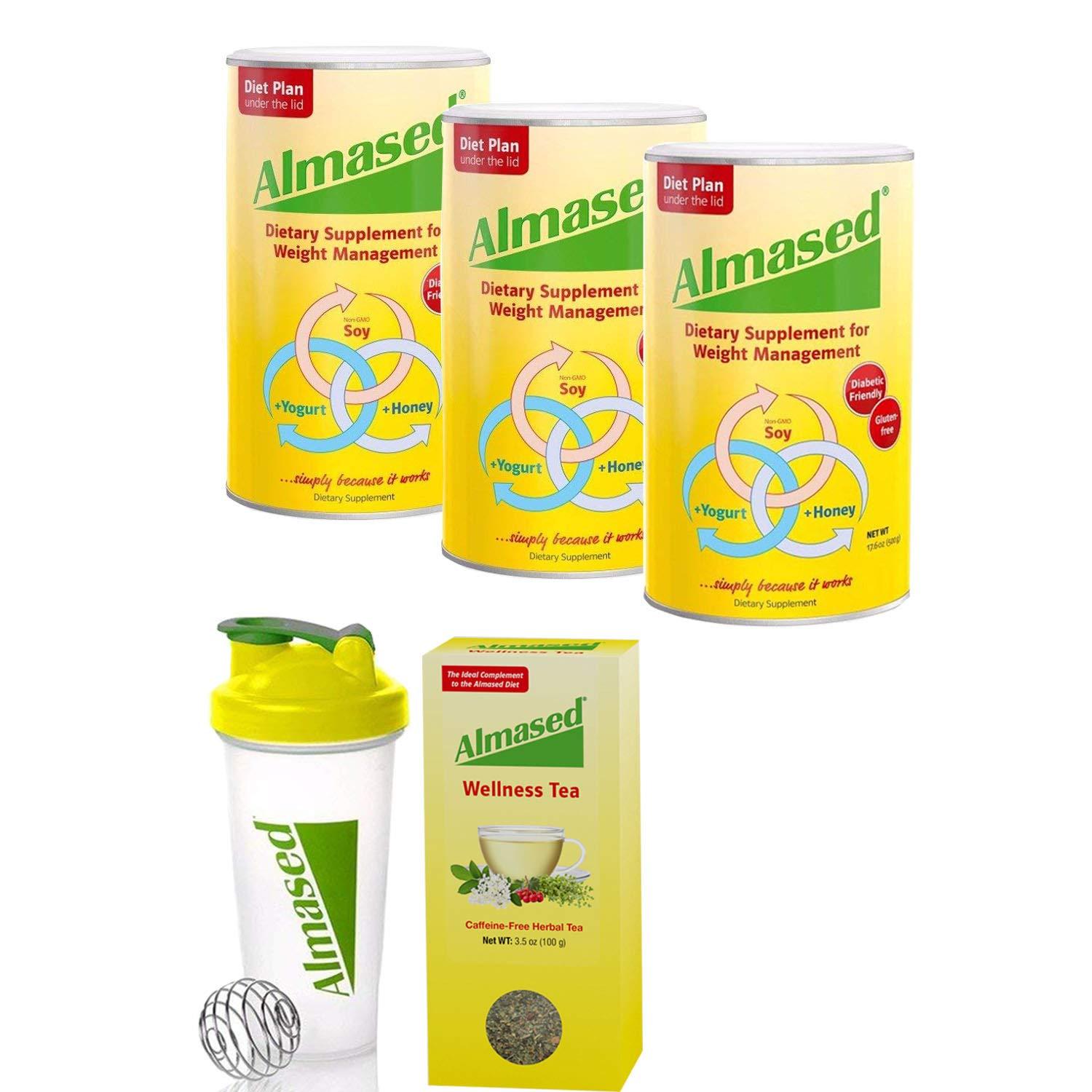Almased® Meal Replacement Shakes -Soy Protein Powder for Weight Loss - Shake for Meal Replacement - Gluten Free, No Sugar Added (3 Pack + Free Shaker Bottle+ Almased® Wellness Tea) by Almased (Image #1)