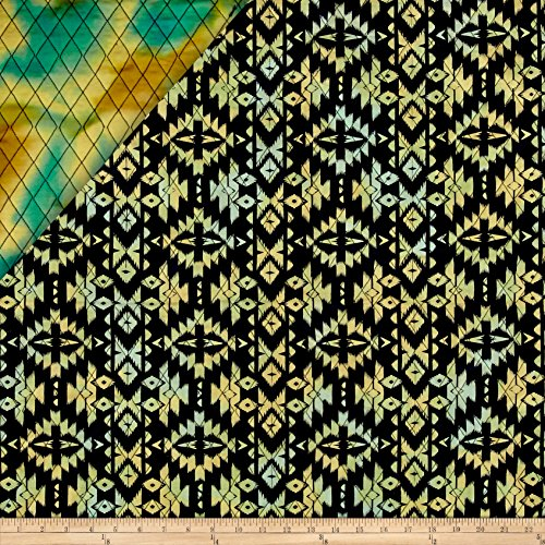 Indian Batik Double Face Quilted Medallion Aqua Yellow Fabric By The Yard (Handbags Fabric Medallion)