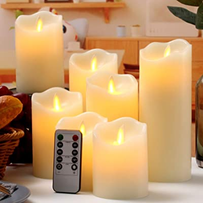 """Flameless Candles Flickering LED Candles Set of 7 (D:3"""" X H:4"""" 4"""" 5"""" 5"""" 6"""" 7"""" 8"""") Ivory Real Wax Pillar Battery Operated Candles with Dancing LED Flame 10-Key Remote and Cycling 24 Hours Timer: Home Improvement"""
